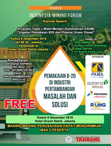 flyer Indonesia Mining Forum 6 des 2018 (SPONSOR)